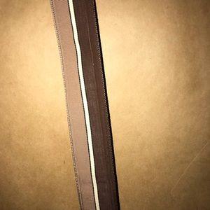 Accessories - Vintage Ribbon Belt Brown White Tan Adjustable